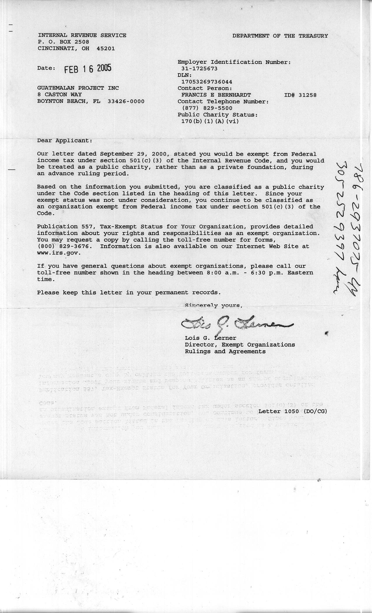 Legal guatemalan project usa irs tax exemption letter xflitez Image collections